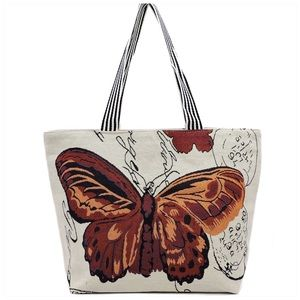 Butterfly Canvas Beach Tote